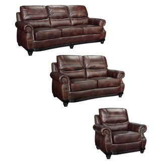 Cool Maverick Cocoa Brown Italian Leather Sofa Loveseat And Chair Overstock Com Shopping The Best Deals On Loveseats Uwap Interior Chair Design Uwaporg