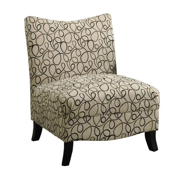 Tan Swirl Fabric Accent Chair