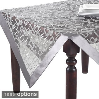 Beautiful Off White/Silvertone Geometric Design Table Topper, Runner, Or Tablecloth