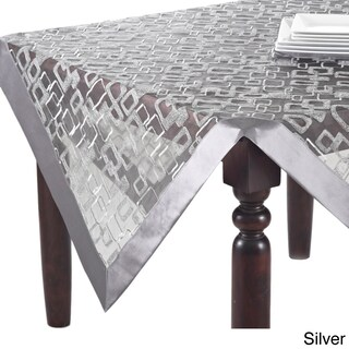 Off-white/Silvertone Geometric Design Table Topper, Runner, or Tablecloth