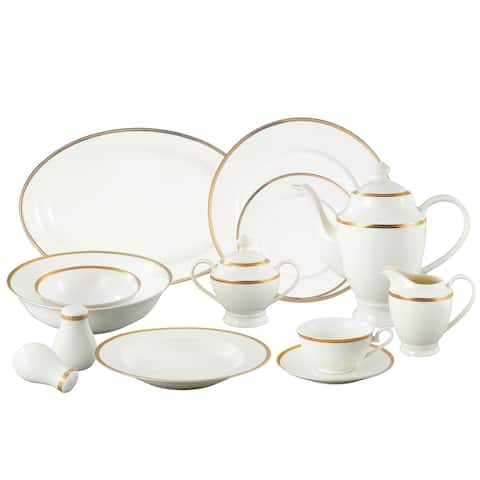 Lorren Home Trends 'La Luna Collection' 57-piece 24K Gold Bone China Dinnerware Set