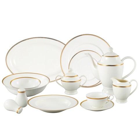 Lorren Home Trends 'La Luna Collection' 57-piece 24K Gold Bone China Dinnerware Set