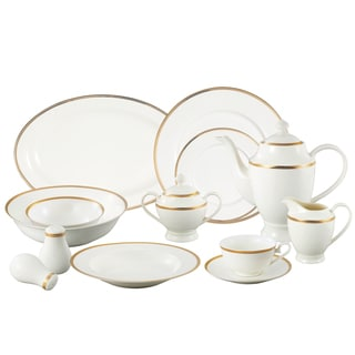 Lorren Home Trends u0027La Luna Collectionu0027 57-piece 24K Gold Bone China Dinnerware  sc 1 st  Overstock.com & 57-piece Bone China Dinnerware Set - Midnight - Gold - Free Shipping ...