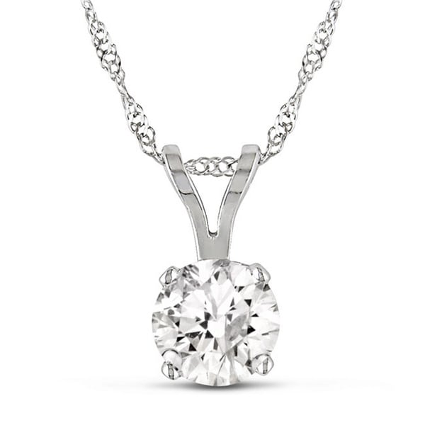 Miadora Signature Collection 14k White Gold 1ct TDW Certified Diamond Solitaire Necklace