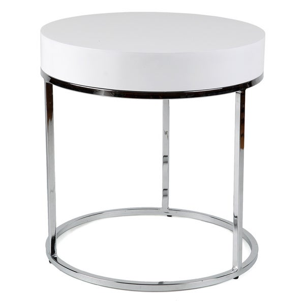 shop round chrome white side table free shipping today 8481022. Black Bedroom Furniture Sets. Home Design Ideas