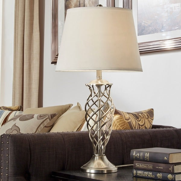 Cornelia 3 Way Satin Nickel Contoured Cage Base 1 Light Accent Table Lamp By