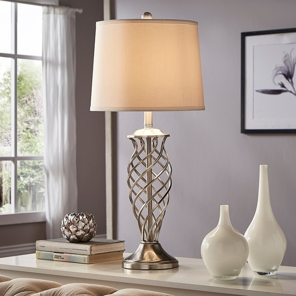 Cornelia 3-way Satin Nickel Contoured Cage Base 1-light Accent Table Lamp by iNSPIRE Q Bold
