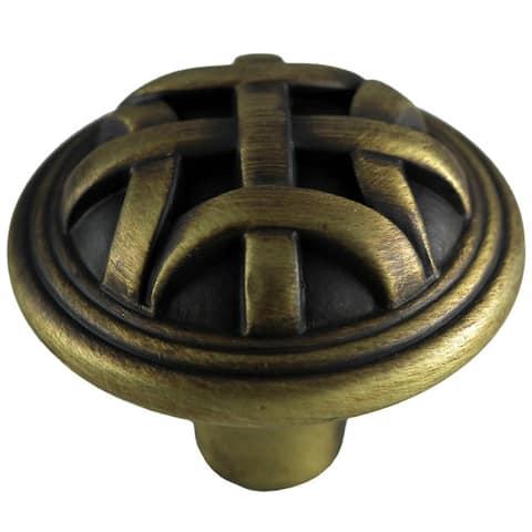 GlideRite 1.25-inch Antique Brass Round Braided Cabinet Knobs (Case of 25)