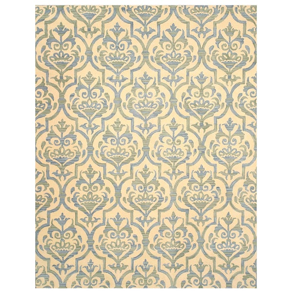 Hand-tufted Wool Ivory Contemporary Floral Miron Rug (7'9 x 9'9) - 7'9 x 9'9