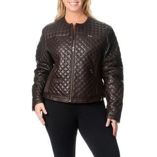 Excelled Women's Plus Size Brown Quilted Leather Jacket