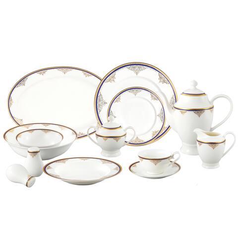 Loren Home Trends La Luna Collection 57-piece Blue/Gold Bone China Dinnerware Set (Service for 8)