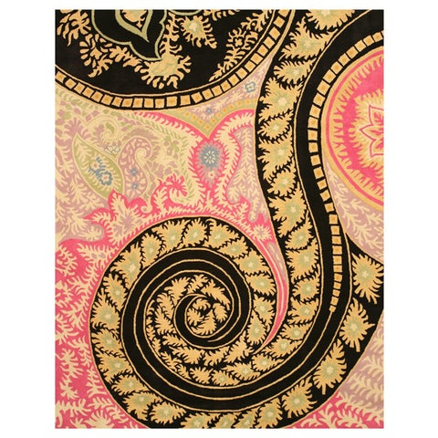 """Hand-tufted Wool Black Contemporary Abstract Paisley Rug (7'9 x 9'9) - 7'9"""" x 9'9"""""""