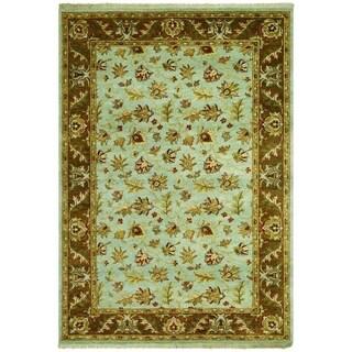 Couristan Jangali Masala Sky Blue/ Chocolate Wool Area Rug - 5'6 x 8'9