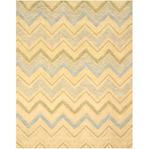 """Hand-tufted Wool Ivory Contemporary Abstract Pastel Chevron Rug (7'9 x 9'9) - 7'9"""" x 9'9"""""""