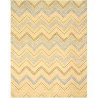 Hand-tufted Wool Ivory Contemporary Abstract Pastel Chevron Rug (7'9 x 9'9) - 7'9 x 9'9