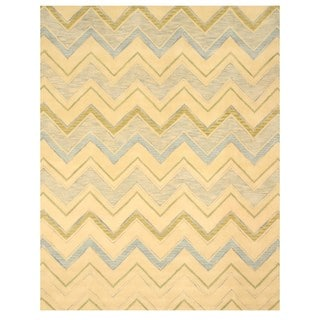Hand-tufted Wool Ivory Contemporary Abstract Pastel Chevron Rug (5' x 8')