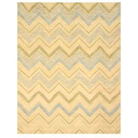 Hand-tufted Wool Ivory Contemporary Abstract Pastel Chevron Rug (5' x 8') - 5' x 8'
