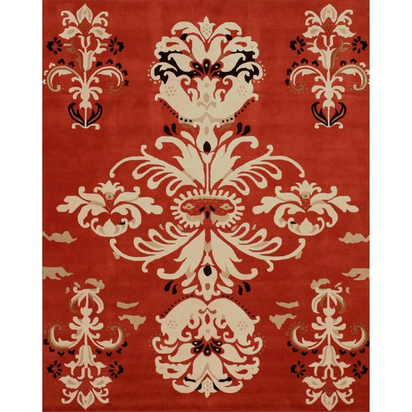EORC Hand-tufted Wool Red Timothy Rug (7'9 x 9'9)