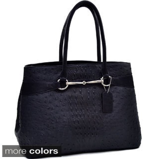 Dasein Ostrich and Croco Embossed Shoulder Bag
