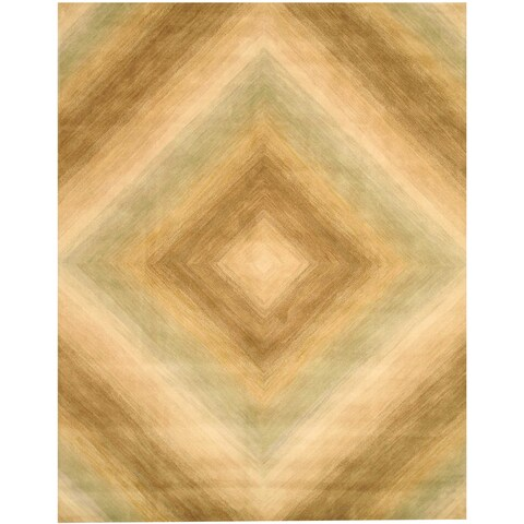 """Hand-tufted Wool Ivory Contemporary Abstract Tufetd Sands Rug (7'9 x 9'9) - 7'9"""" x 9'9"""""""