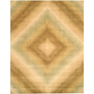 Hand-tufted Wool Ivory Contemporary Abstract Tufetd Sands Rug (7'9 x 9'9)