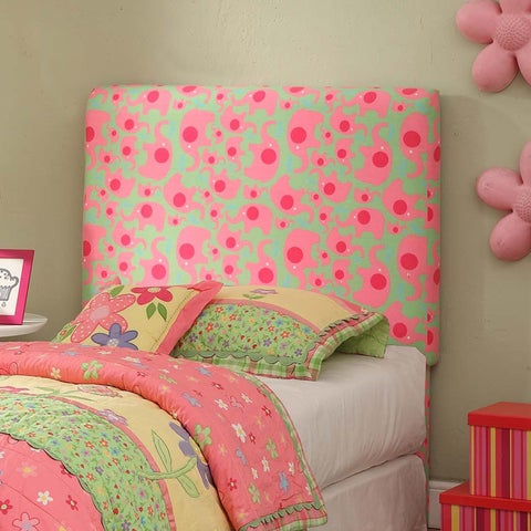 HomePop Twin Pink/ Green Elephant Dot Headboard