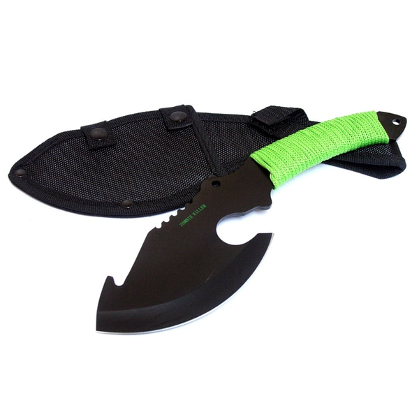Defender 10.5-inch Black Full Tang Zombie Killer Hunting Knife with Sheath