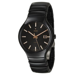 Rado Men's 'Rado True' Ceramic Automatic Watch with Goldtone Hands