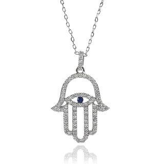 Journee Collection Cubic Zirconia Hamsa Evil Eye Necklace