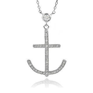 Journee Collection Brass Cubic Zirconia Anchor Necklace