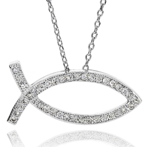 Shop Journee Collection Cubic Zirconia Christian Fish Necklace