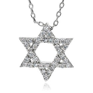 Journee Collection Brass Cubic Zirconia Star of David Necklace