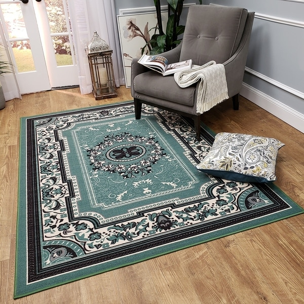 Ephesus Collection Medallion Traditional Sage Green Area Rug - 4'10 x 6'10