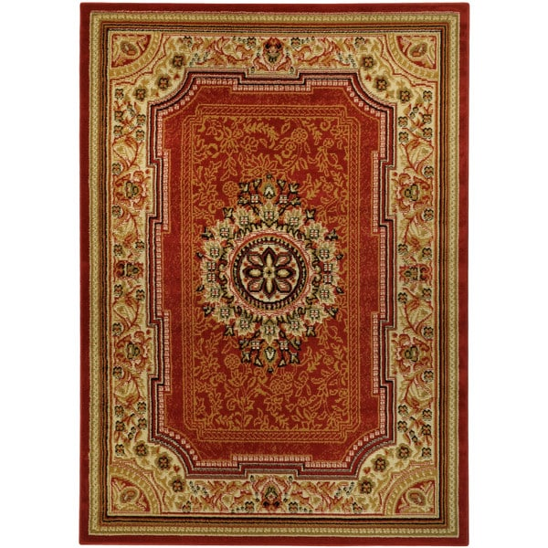 Ottomanson Traditional Floral Design Dark Red 2 Ft X 7 Ft: Medallion Traditional Red Area Rug (4'10 X 6'10)
