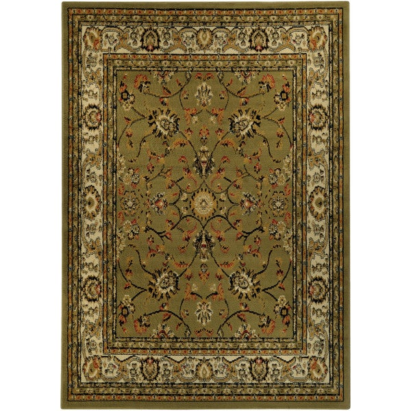 floral garden traditional sage green area rug 8 39 2 x 9 39 10 free shipping today. Black Bedroom Furniture Sets. Home Design Ideas