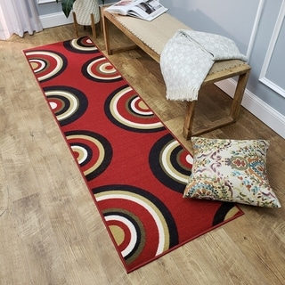 Ephesus Collection Geometric Circles Red Contemporary Runner Rug (1'10 x 6'10)
