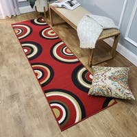 Ephesus Collection Geometric Circles Red Contemporary Runner Rug - 1'10 x 6'10