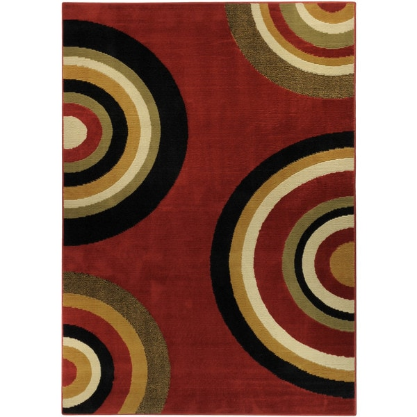 Ephesus Collection Geometric Circles Red Contemporary Area Rug (8'2 x 9'10) - 8'2 x 9'10
