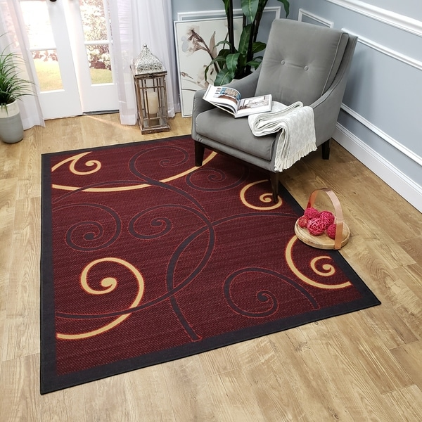 Ephesus Collection Red Tribal Filigree Contemporary Area Rug (4'10 x 6'10) - 4'10 x 6'10