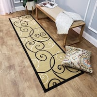 Ephesus Collection Ivory Tribal Filigree Contemporary Runner Rug (1'10 x 6'10) - 1'10 x 6'10