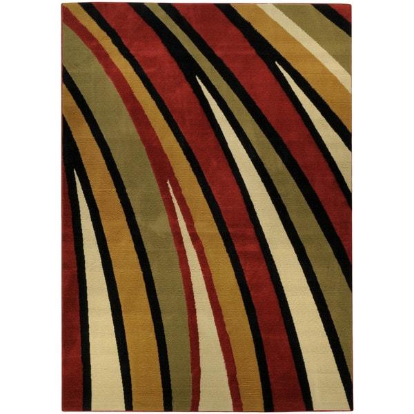 Ephesus Collection Multicolor Stripes Contemporary Area Rug (8'2 x 9'10)