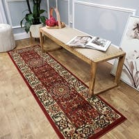 Pasha Collection Medallion Traditional Red Runner Rug - 2'7 x 10'