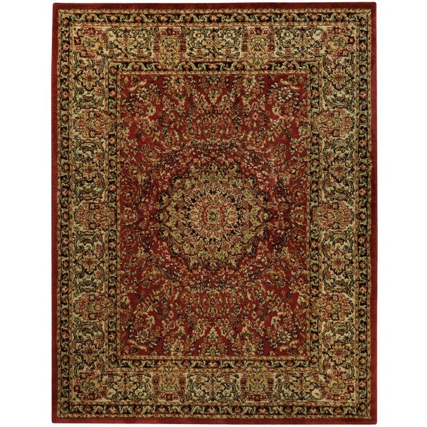 Pasha Collection Medallion Traditional Red Area Rug (7'10 x 10'6) - black/ivory/red - 7'10 X 10'6