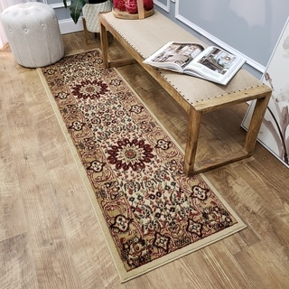 Pasha Collection Medallion Traditional Ivory Runner Rug (2'7 x 10)