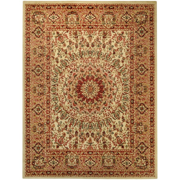 Pasha Collection Medallion Traditional Ivory Area Rug (7'10 x 10'6) - 7'10 x 10'6