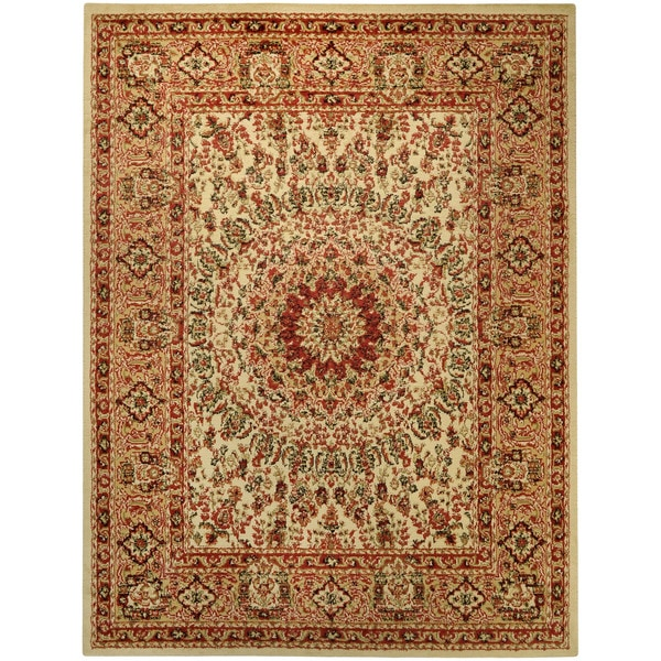 Pasha Collection Medallion Traditional Ivory Area Rug - 7'10 x 10'6