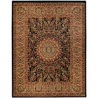 Pasha Collection Medallion Traditional Black Area Rug (5'3 x 6'11) - 5'3 x 6'11