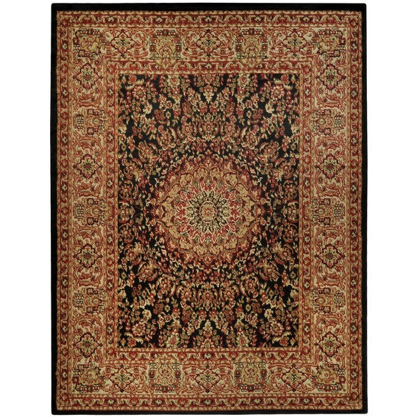 Pasha Collection Medallion Traditional Black Area Rug (7'10 x 10'6) - 7'10 x 10'6