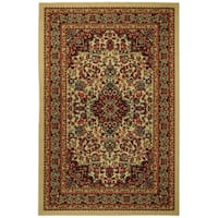 Rubber Back Ivory Traditional Floral Non-Skid Area Rug 5 feet x 6 feet 6 inches - 5' x 6'6