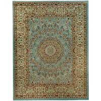 "Pasha Collection Medallion Traditional Ocean Blue Area Rug - 3'3"" x 5'"